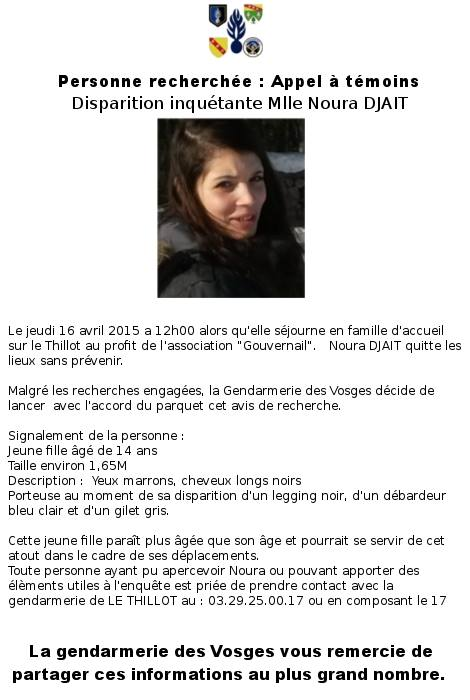 Disparition inquiétante au Thillot